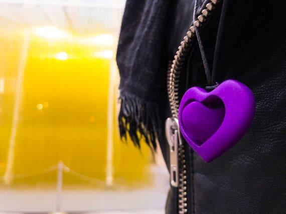 3d Druck Lila Herz Anhanger Halskette Valentine Mechanismus Etsy