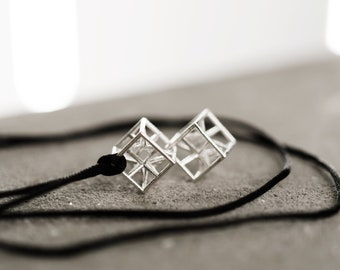 Geometric 3d printed unisex necklace with silver pendant, gift for architecture student designer teacher, 2 hyper cubes, for him & for her