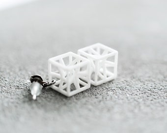 3d printed geometric cubic earrings, gift for architecture student math science geometry teacher engineer architect, hyper star cube light