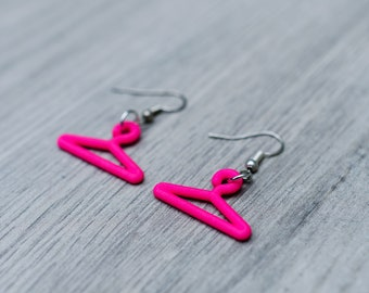 Coat hangers 3d printed earrings are the perfect gift for a fashion blogger stylist shop assistant, designer student girl who loves shopping