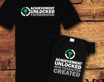 Achievement Unlocked, Achievement Gift, Father Son Matching Shirt, New Dad Gifts, Dad and Baby Matching Shirts, Father's Day Shirt, T-Shirt