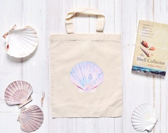 Shell Print Tote Bag, Eco Gifts, Shell Collecting Bag, Cotton Canvas Bag, Mermaid Bag, Market Bag, Mermaid Gifts, Reusable Bag