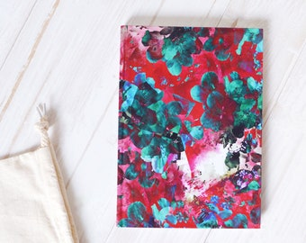 A5 Notepad, Floral Notebook, Red Floral Journal Notebook, Pretty Notebook, A5 Lined Journal, Hardback journal, Notebook A5, Pretty Journal