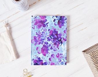 Purple Floral Journal Notebook, Pretty Notebook a5, Pretty Journal, Floral Journal, Thick Notebook, Travel Journal, Cute Line Journal