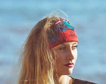 Pretty Head Scarf, Letterbox Gift, Floral Boho Head Scarf, Red Floral Abstract Print Headband, Bohemian Hair Scarf, Yoga head wrap