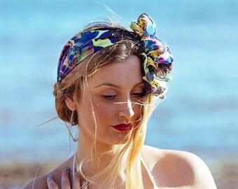 Boho Head Scarf in Lemon and Violet print, Pretty Head Scarf, Vibrant Abstract Floral Print Headband, Travel Scarf, Yoga Hair Tie