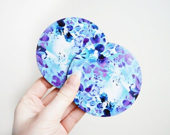 Floral Coasters, Arty Coaster set, Pretty Coasters, Blossom Coaster, New Home Gifts, Purple Coaster, Purple Gifts, Flat Letterbox Gifts