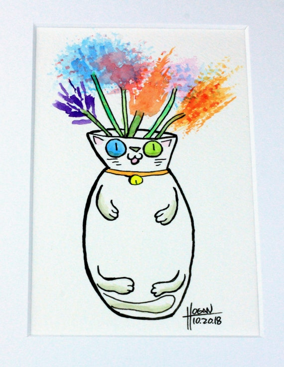 Watercolor White Cat Flower Vase Cartoon 4x6 In 8x10 Mat By Etsy