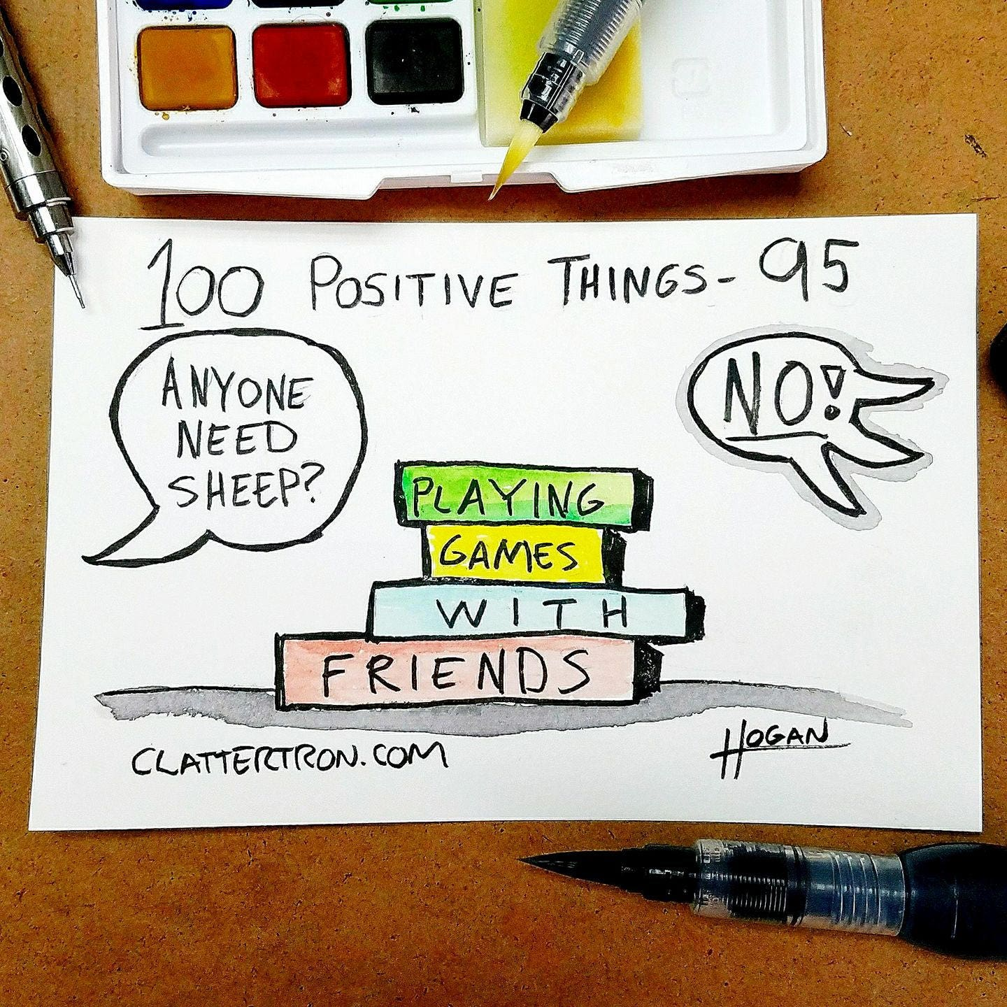 100 Positive Things Drawing 95 Playing Games With Friends Etsy