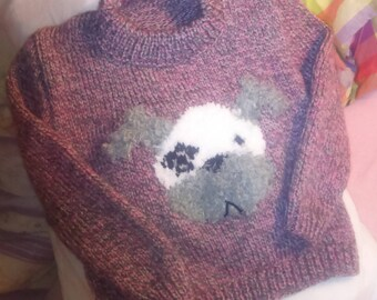Sweater knitted jacquard wool dog's head size 4t