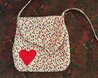 Adorable child's purse with red appliqué heart