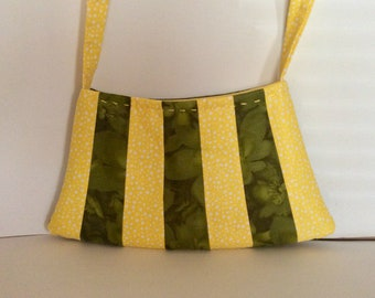 Green and yellow striped bag/purse