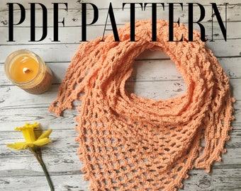 Crochet Triangle Scarf Pattern / Spring Scarf Tutorial / Crochet Tutorial Pattern /Easy / Boho Cowl / Download Beginnner / Elaina / Autumn