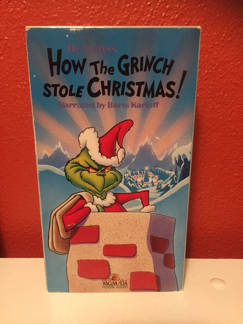 How The Grinch Stole Christmas 1966 Movie Poster.How The Grinch Stole Christmas Vhs 1988 Boris Karloff Narrator