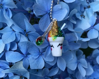 Unicorn Snoball Charm Necklace