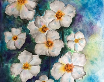 "Watercolor flower painting 11""x14"" original"