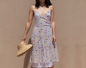 Deadstock pastel lilac/multi color printed lined silk georgette layered dress.size I-42, 44