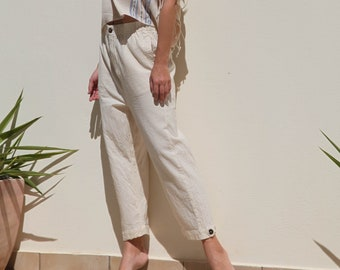 Handmade natural color organic cotton cream trousers,pants.one/size