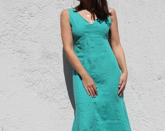 Vintage chic light green linen maxi dress.sizes S,M,L,XL,XXL