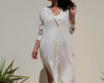 Cream organic cotton button down tunic dress.one/size
