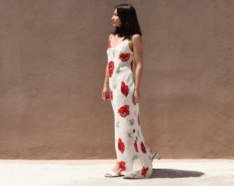 Deadstock floral beige/red chiffon georgette asymmetric maxi dress.size m