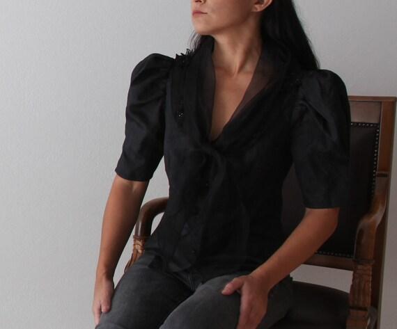 Vintage black taffeta/organza puff sleeved button