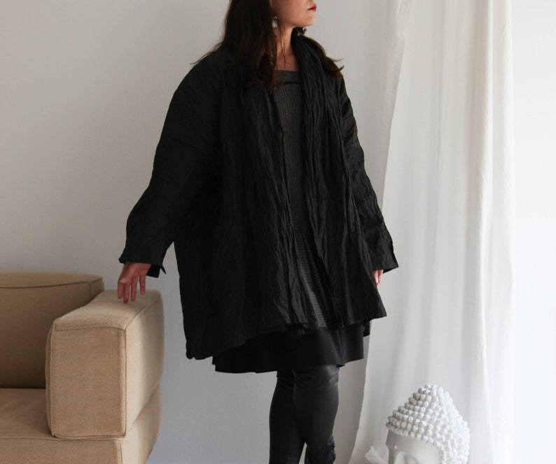 Vintage boho lagenlook ruffled off black shiny oversized coat.one size