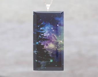 Green and Purple Monkey's Head Nebula, With Tree - Beautiful glow-in-the-dark Astronomy Pendant from the Centre of our Galaxy - B2