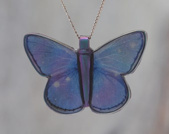 Blue Stars - Pendant made with photo of a Butterfly's wing blended with an image of the Orion Nebula