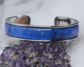 Trees Dreaming - Silver plated Astronomy bangle with the Carina Nebula - Space/Science/Galaxy bracelet