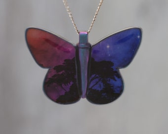 Trees Dreaming - Galaxy Butterfly Pendant  made with a photo of a tree and the Carina Nebula!
