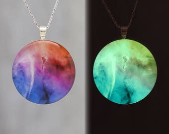 Sea Horse in Space - Glow-in-the-dark astronomy pendant with an  astrophotography image of the Carina nebula - Space / Science Necklace - B4