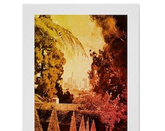 Boho home decor photography, rustic tree photography, rustic home decor gift, Los Angeles downtown sunset cityscape, yellow copper wall art