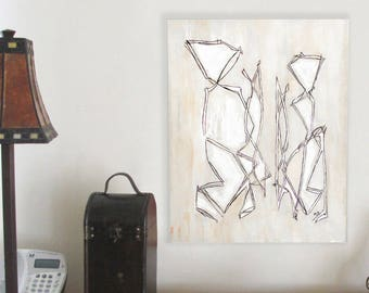 Gift for the couple, original abstract couple painting, black white purple art lines, living room wall art canvas signed art, high end gifts