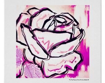 Pink rose print, pop rose flower, best mom flower gift, modern rose flower art print, pink rose flower art, modern pop pink rose print gift