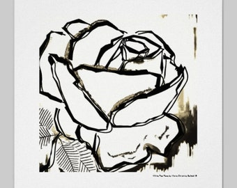 Black and white rose art with brown sienna watercolor, unique pop home decor, modern black outlines rose, black white rose flower art signed