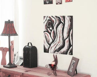 Rose Rustic wall decor, living room rose art painting canvas, original canvas painting black white red rose art gift signed sold by artist