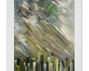 original abstract painting, modern tonal green abstract print, original dark gray green painting, large green painting stroke abstract print