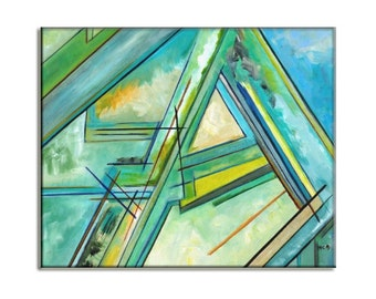 Green blue painting, unique home decor, canvas painting with blue green line art and color block abstract art signed, best men decor gift