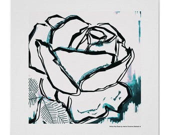 Modern art print, modern black white rose with aqua blue watercolor, home decor black lines rose, black white rose art signed sold by artist