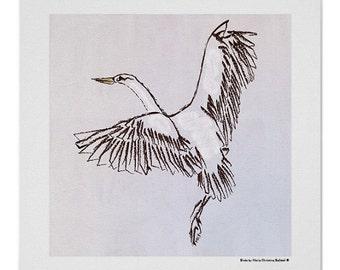 White bird drawing, brown outlined bird flying illustration, bird art print, nursery wallart, bird art for kids room decor, baby shower gift