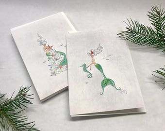 Hand Glittered Christmas Mermaid Cards