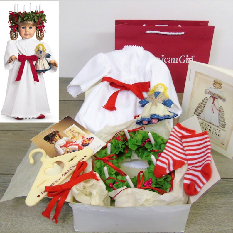 New AMERICAN GIRL~KIRSTEN St Lucia Red /& White Striped Christmas SOCKS~Free Ship