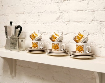 6 Staffordshire Pottery Coffee Cups and Plates 1970's