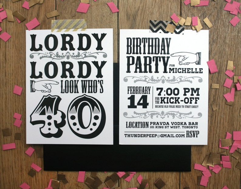 Custom 40th Birthday Invitations Lordy Look Whos