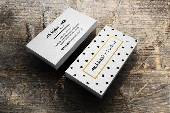 Carte De Visite Design Pr Fait Modle Pois Et Gold Business