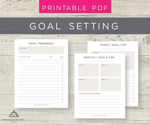 goal setting planner printable goal tracker monthly goal etsy