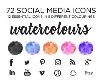 Social Media Icons - Glam Watercolor Design - Blog icons for photography, fashion, blog, website design - png files - Bohemian icons