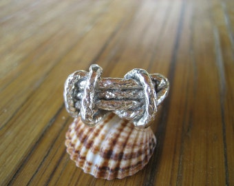 sterling silver ring, silver rope ring, handmade ring ,gift for her, nautical jewelry