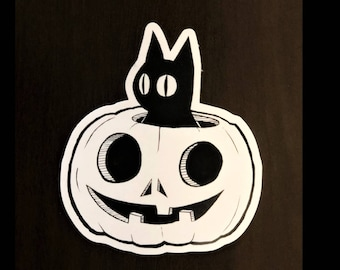 Pumpkin Cat Sticker| Inktober| Halloween